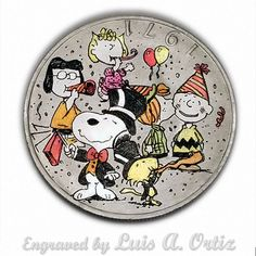 A Peanuts New Year Ike Hobo Nickel Colored & Engraved by Luis A Ortiz Hobo Nickel, Challenge Coins, Peanuts, Hand Carved, Pin Up, Snoopy, Girls, Artwork, Ebay