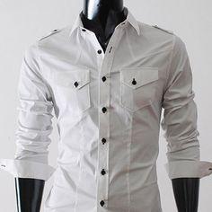 Mens premium strap pocket slim fit dress shirts WHITE