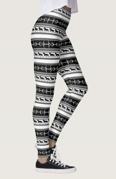 Black and White Trotting Horse Pattern Equestrian Leggings - The Painting Pony