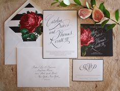Fall wedding invitation styled with figs and branches. Pomegranate flower details. Gorgeous calligraphy!