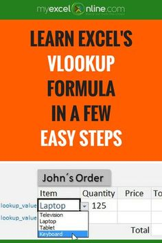 How to use Excel's VLOOKUP formula with a drop down list. | Learn Microsoft Excel Tips + Free Excel Tutorials & Cheat Sheets | The Most In-Depth Excel Video Courses Online at http://myexcelonline.thinkific.com/