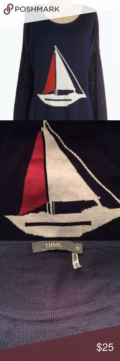THML sailboat lightweight sweater THML lightweight sweater with sailboat stitching.  Navy, red and white.  Perfect for the end of summer or start of fall.  Only worn once but has two small marks on boat portion of sweater.  See photo 2. THML Sweaters Crew & Scoop Necks