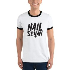 Hail Seitan Vegan Ringer T-Shirt vegan clothing vegan t shirt ringer tee vegan tshirt feminist shirt vegan t-shirt ringer t shirt vegan tees Vegan T Shirt, Vegan Clothing, Seitan, Ringer Tee, Printed Tees, Wearing Black, Get Dressed, Fabric Weights, Mens Tops