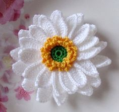 Larger Crochet Flower in 3-1/2 inches