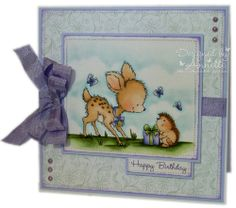 Featuring Wild Rose Studio's stamp Bluebell With Hedgehog SKU 783360. Available at www.addictedtorubberstamps.com Card created by Annette of The Stamp Basket blog.