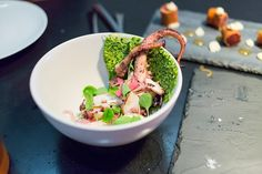 Grilled Octopus with cashew pesto, pickled red onion, and watercress at Alder. New York, NY. (Photo by gourmetgourmand)