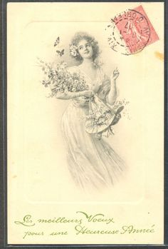 NT057 MM VIENNE Nr 276 BEAUTIFUL LADY HAT BLOSSOM BUTTERFLY 1907
