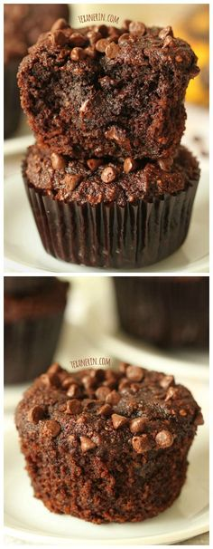 Healthier chocolate banana muffins - super rich and decadent!