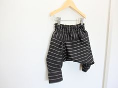 2-4T years Black Linen Stripe Pantaloons Harem Style Hammer Pants / Eco Recycled Linen Remnants