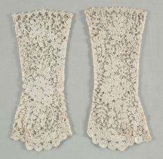 Gloves | Cleveland Museum of Art. c. 1850 Flanders, 19th century Bobbin (Duchese) lace, Overall - h:25.40 w:11.10 cm (h:10 w:4 5/16 inches). Gift of Mrs. Justin G. Sholes