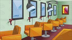 Inside a posh hair salon - Modern Backdrop Background, Yellow Background, Posh Hair Salon, Mint Green Walls, Spa Chair, Orange Carpet, Salon Chairs, Hair Spa, Beauty Shop