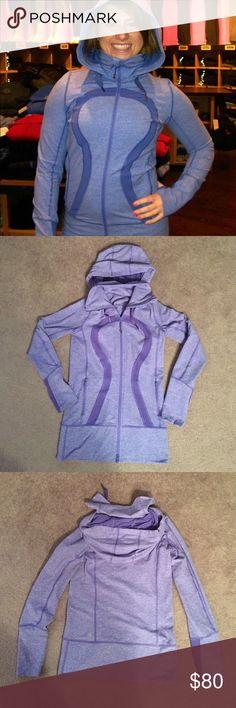 Lululemon In Stride Persian Purple hoodie Amazing and rare Persian purple hoodie! Long, zippered pockets, thumbholes. Perfect condition. lululemon athletica Tops Sweatshirts & Hoodies