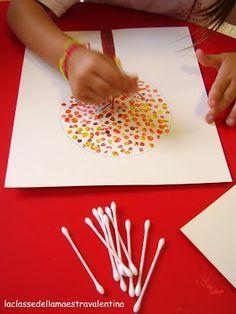 schilderen met wattenstaafjes, goed voor juiste pengreep en -druk en het geeft een leuk resultaat!! bv. een boom in de herfst of juist met witte verf een sneeuwpop op zwart papier... Veel plezier!
