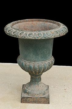 French Vintage Patinated Cast Iron Garden Urn