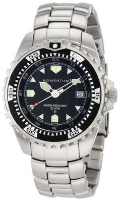 Momentum Men's 1M-DV00B0 M1 Black Dial Stainless-Steel Bracelet Watch Momentum. $154.95. Mineral crystal. Water-resistant to 660 feet (200 M). Quality Japanese-quartz movement. 316l-Stainless-steel case; black dial; day function. Case diameter: 39.3 mm; with crown: 42.7 mm