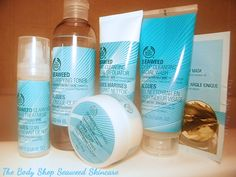 A review of The Body Shop Seaweed Line: Exfoliator, Cleansing Facial Wash, Toner, Night Treatment, Mattifying Day Cream, and Clay Mask.