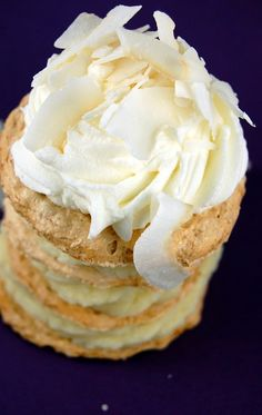 Toasted Coconut Meringue Stacks filled with Coconut Cream Pie Filling