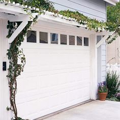When attached to a home, deck, doorway, or garage, a pergola can serve as a beautiful element that connects and intrigues. Use these stylish pergola designs as inspiration for your own home. Pergola Metal, Garage Pergola, Garage Trellis, Cheap Pergola, Pergola Screens, Steel Pergola, Modern Pergola, Garage Door Styles, Garage Doors