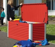 The Trimetals Patio Box is made from PVC-coated galvanised steel thats avaialbe in 6 colour choices and is available from GBC. Patio Storage, Pvc Coat, Construction, Galvanized Steel, Outdoor Furniture, Outdoor Decor, Shed, Colours, Design