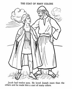 Joseph and the coat of many Colours Bible Story Colouring Page