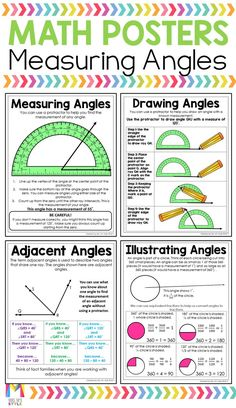 My Grade Students Always Struggled When It Came To Measuring Angles With A Protractor. These Math Anchor Charts Definitely Helped Each Anchor Chart Is Written In Student Friendly Language And Fits Perfectly In Interactive Math Notebooks So Students Can Math Charts, Math Anchor Charts, Math Blocks, Math Poster, Math Help, Learn Math, 5th Grade Math, 4th Grade Science, Math Notebooks