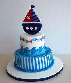 Torta Baby Shower, Nautical Cake, Nautical Theme, Pastel Mickey, Navy Cakes, Sugar Paste, 1st Boy Birthday, Baby Shark, Fondant