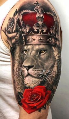 """Some people use tattoos to convey a message beyond words and actions. Lions are the """"Kings of the Jungle"""". Below, we are going to mention lion tattoo designs and ideas. Lion And Rose Tattoo, Lion Tattoo With Crown, Lion Chest Tattoo, Lion Back Tattoo, Lion Shoulder Tattoo, Lion Forearm Tattoos, Lion Tattoo Sleeves, Lion Head Tattoos, Mens Lion Tattoo"""