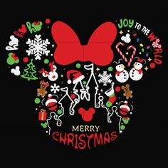 Disney Merry Christmas, Christmas Svg, Christmas Decorations, Xmas, Disney World Christmas Shirts, Minnie Mouse Christmas, Christmas Ideas, Arte Do Mickey Mouse, Cricut