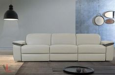 AURA TOP GRAIN LEATHER LIGHT GREY POWER RECLINING SOFA #sofa #sectional #leather #recliner