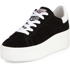 Ash Cult Suede Platform Sneaker ($139) ❤ liked on Polyvore featuring shoes, sneakers, platform shoes, lace up sneakers, lacing sneakers, high heel shoes and black and white high heel shoes