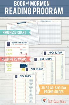 Book of Mormon reading program. Get progress charts, reading rewards, and a 30, 50, 80 and 90 day pacing guide!!!