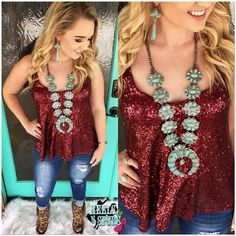 The Classy Cowgirl Sequin Tank ~ Burgundy