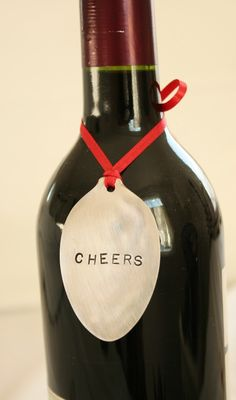 Cheers vintage silverware wine marker gift tag recycled silver plated via Etsy