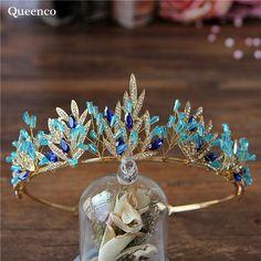 2017 Blue Crystal Crown Cute Wedding Tiara Bridal Hair Accessories Handmade Bridal Headpiece Women Hair Jewelry Princess Diadem