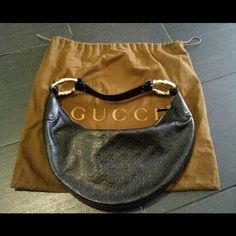 "Authentic Gucci leather handbag Excellent pristine condition.  Dustbag included. Half moon bamboo gold accents. 15.5 x 8.5 x 2"" will sell less on my ebay or pypl no trades Gucci Bags"