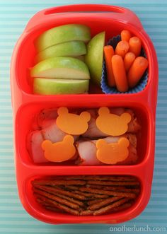 This is the Disney lunchable repacked into the container, which is funny!  I bought the container, pink and packed this lunch : )