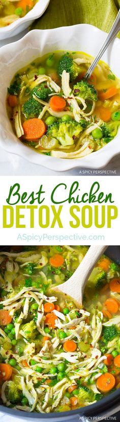 Best Ever Chicken Detox Soup Recipe Cleanse – A nourishing homemade soup with fresh chicken and loads of veggies to boost your metabolism and immune system, as well as remove toxins. (Paleo, Gluten Free, Dairy Free) Best Ever Chicken Detox Soup Sopas Light, Sopa Detox, Cleanse Detox, Healthy Cleanse, Detox Tea, Detox Soups, Diet Detox, Stomach Cleanse, Cleanse Recipes