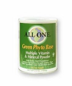 All One Powder Multiple Vitamins & Minerals, Green Phyto Base, 2.2-Pound Can by All One. $76.74. High potency multi vitamin and mineral powder.. Gluten, yeast, sugar and dairy free.. 2 grams of chlorophyll rich organic greens per dose. Vegan. Easy to digest and absorb.. Powdered dietary supplement. Organic greens; minerals; dairy free whole food amino acids; vegan. 66 Day supply.100% Pure nutrition. No yeast; no gluten; no sugar; no sweeteners; no flavors; no c...