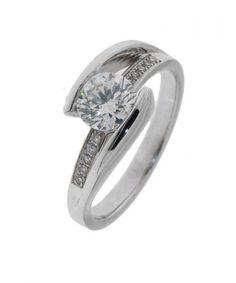 Bague Diamant or Blanc