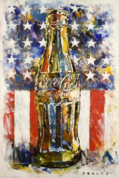 In honor of the Steve Penley's coke bottle with flag is now available as a print. Coke Bottle with American Flag Signed Lithograph Print on 100 lb. paper by Steve Penley Overall Size: x Coca Cola Vintage, Steve Penley, Coca Cola Poster, Tableau Pop Art, Always Coca Cola, Art Aquarelle, I Love America, Flag Art, Usa Tumblr