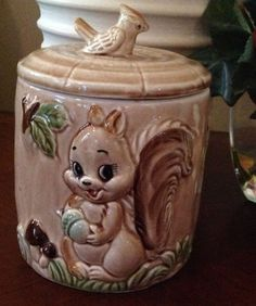 Vintage Cookie Jar,  Jar  Is  A Tree Stump With A Squirrel In Front, Bird On Lid