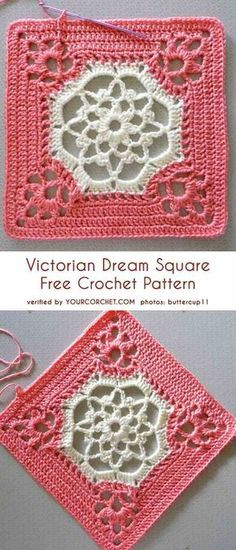 Victorian Dream Square Free Häkelanleitung - Best Home DIY DecorsThis square will be perfect for any afghan, tote or cushion. The Victorian motif with its airy and delicate look can be an addition to any interior.Arches All Around Free Crochet Pattern - Crochet Motifs, Granny Square Crochet Pattern, Crochet Blocks, Afghan Crochet Patterns, Crochet Squares, Crochet Granny, Crochet Stitches, Knitting Patterns, Filet Crochet