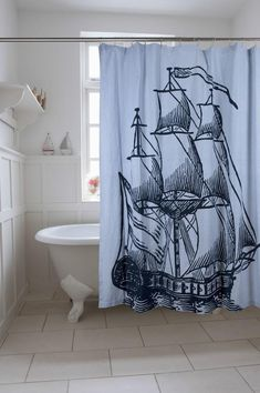 Galleon Shower Curtain design by Thomas Paul - I found this on Burke Decor Elegant Shower Curtains, Bathroom Curtains, Beach House Bathroom, Cozy Bathroom, Mermaid Bathroom, Modern Bathroom, Buy Pillows, Shower Accessories, Houses