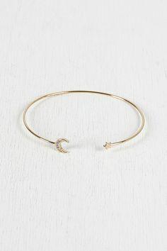 Moon and Star Bangle Bracelet