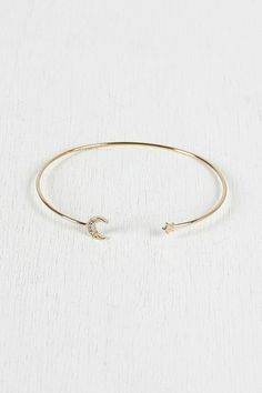 Moon and Star Bangle Bracelet