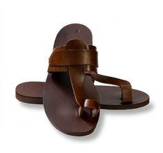 ae606aad90f Davinci 3983 Men s Push In Toe Italian Leather Sandals Brown Black ...