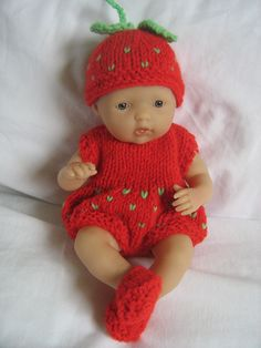 """Strawberry suit for 7.5"""" Berenguer doll."""