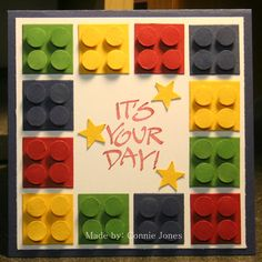 """Here's my version of a Lego card. Not perfect, but love how it came out. I used a 1"""" square die with 3/8"""" circle punch & added tiny 3D dots. This was a request to make a graduation card using legos for kindergarten."""