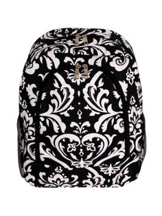 $13.75 Damask Large Backpack with Black Trim