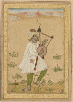 An African Lyre Player, c. 1640-1660, India, Deccan, 17th century, ink, opaque watercolor, and gold on paper, recto, Miniature - h:18.70 w:12.40 cm (h:7 5/16 w:4 7/8 inches).